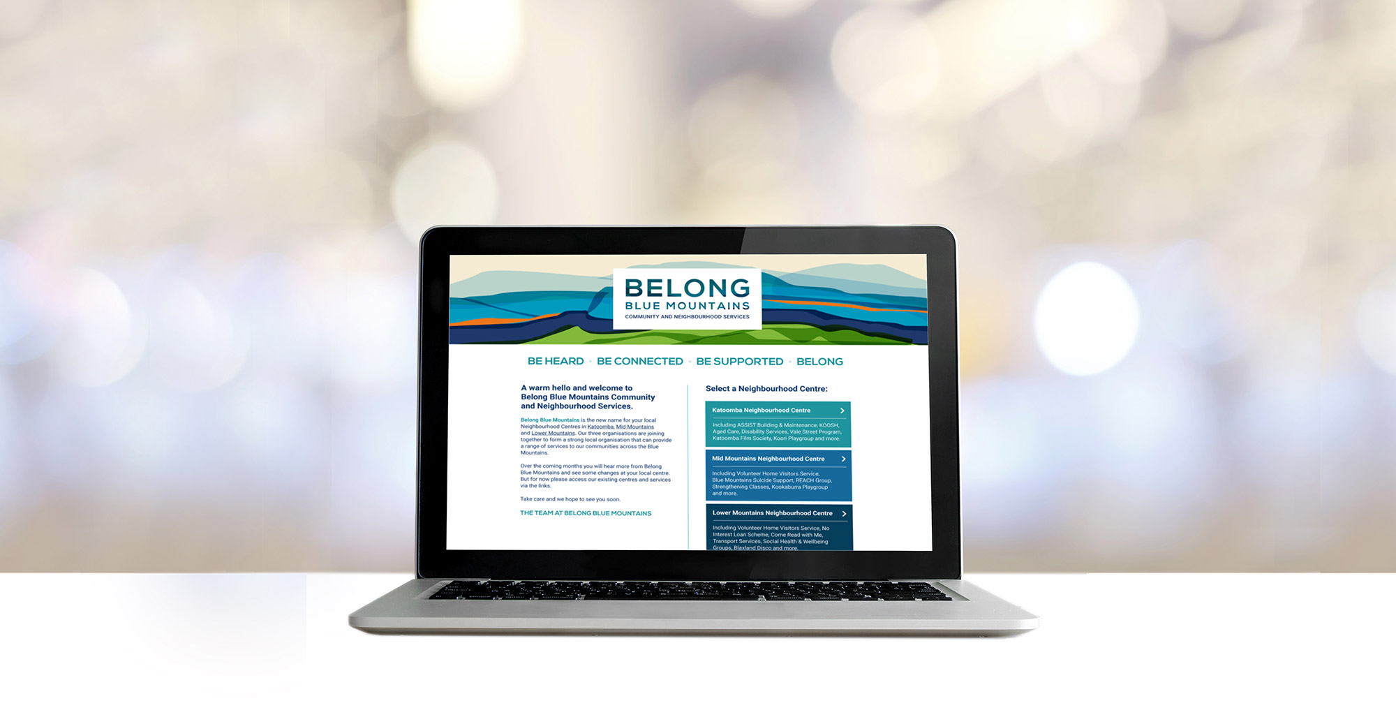 Belong Blue Mountains website design